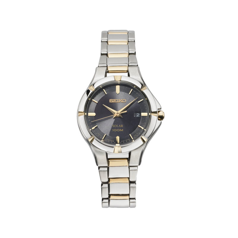 Seiko Watches In Stock Stainless Steel Two Tone Solar Watch w/ Date Calendar and Black Face