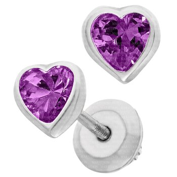 Sterling Silver Heart February CZ Birth Stone Earrings