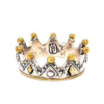 Sterling Silver & Brass Tiara Stackable Minerva Ring w/ Swarovski Crystals, Size 8