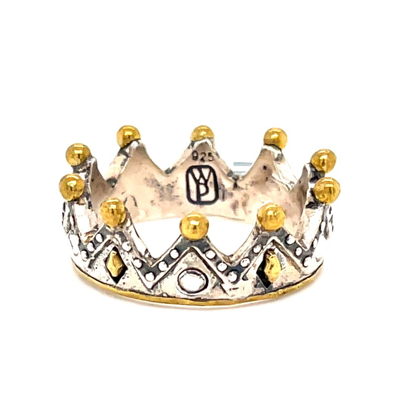 Waxing Poetic Sterling Silver & Brass Tiara Stackable Minerva Ring w/ Swarovski Crystals, Size 8