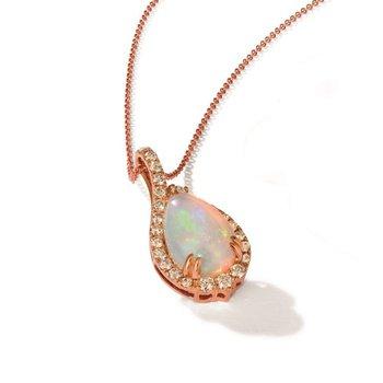 "14KR Opal & Diamond Pendant w/ 0.60 ctw Dia. & 2.25 ctw Opal, 18"" Chain"