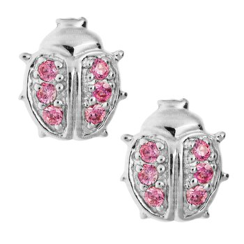 Sterling Silver Pink CZ Ladybug Earrings