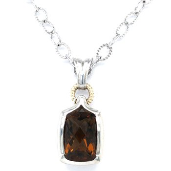 """Sterling Silver Honey Citrine Pendant w/ 18KY Accents, Chain 18"""""""