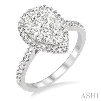 "14KW ""Lovebright"" Pear Shape Diamond Ring w/ 1.00 ctw, Size 7"