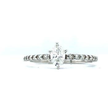 14KW Diamond Engagement Wedding Ring w/ 0.38 ctw, Size 6.75