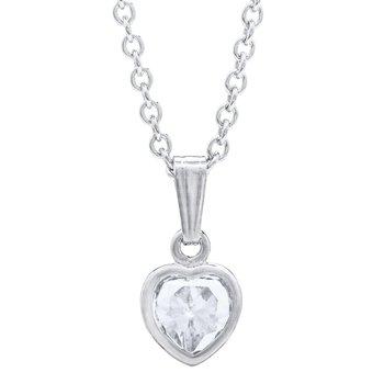 Sterling Silver April CZ Heart Pendant w/ Chain