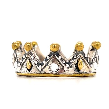 Sterling Silver & Brass Tiara Stackable Minerva Ring, Size 7