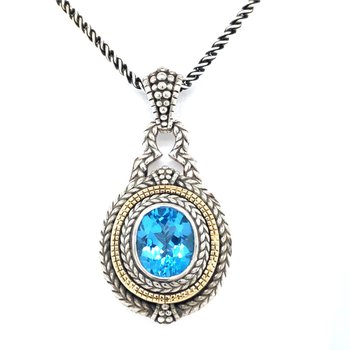 Sterling Silver Swiss Blue Topaz Pendant w/ 18KY Accents, Chain