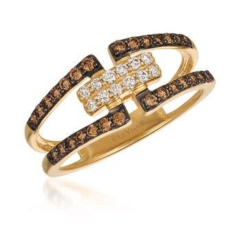 14KY Chocolate & White Diamond Fashion Ring w/ 0.47 ctw, Size 7