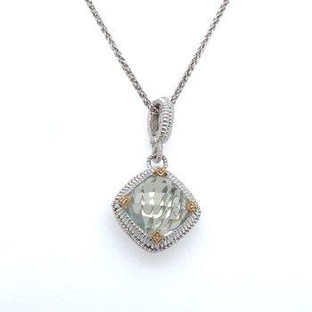 Sterling Silver & 18KY Green Amethyst & 0.02 ctw Diamond Fashion Pendant