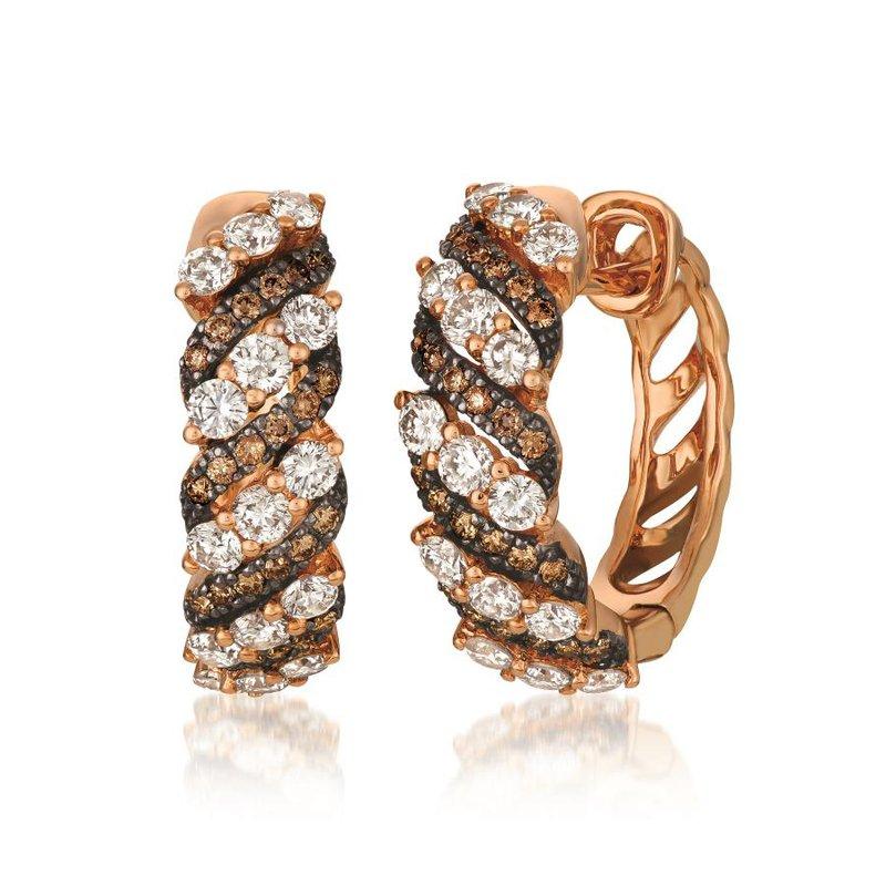 Le Vian In Stock 14KRG Chocolate and White Diamond Hoop Earrings w/ 1.65 ctw
