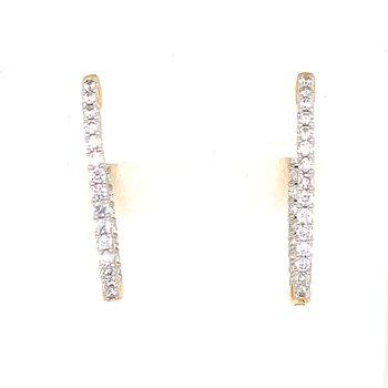 14KY Diamond In & Out Medium Oval Hoop Earrings w/ 1.0 ctw