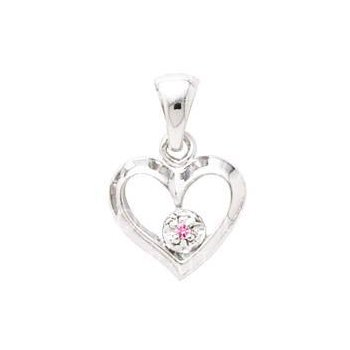 Sterling Silver Pink Sapphire Heart Pendant w/ Chain