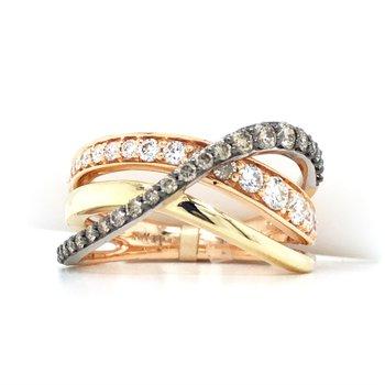 14K Tri-Color Gold Chocolate & White Diamond Ring w/ 0.87 ctw, Size 7