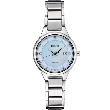 Stainless Steel Seiko Solar Watch w/ Mother of Pearl Face, 12 Diamonds, and Date Marker