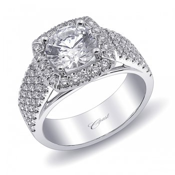 14KW Engagement Semi-Mount Ring w/ 0.76 ctw, Size 6.75