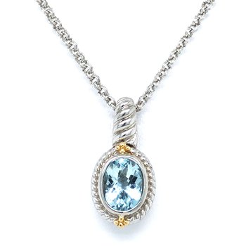 Sterling Silver Aquamarine Pendant w/ 18KY Accents and Chain