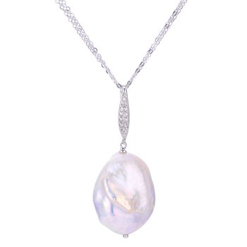"3 Strand 14KW Fresh Water Cultured Pearls Keshi Pearl & Diamond Pendant, 18"" Chain"