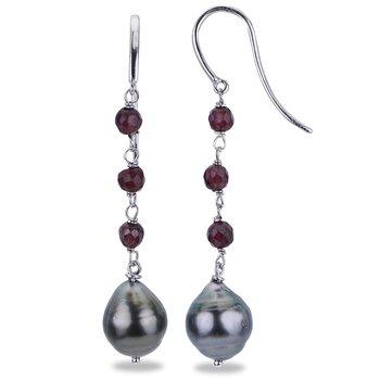 Sterling Silver 8 -- 9 mm Tahitian Baroque & Garnet Drop Earrings