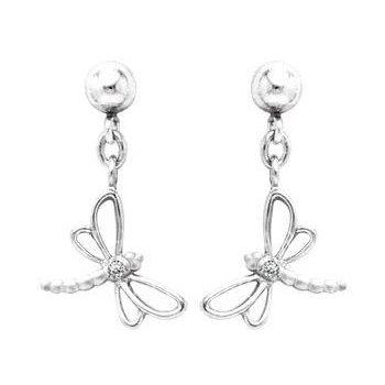 Sterling Silver Diamond Dragon Fly Earrings