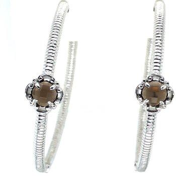 Sterling Silver Smoky Quartz Large Hoop Earrings w/ 40 mm