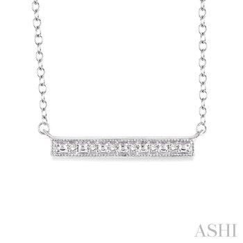 "Sterling Silver Diamond Bar Pendant w/ 0.05 ctw, 18"" Chain"