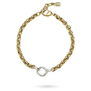 Sterling Silver & Brass Stanza One Clip Bracelet