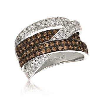 14KW Ring w/ Chocalate and White Diamonds 1.40 ctw, Size 7