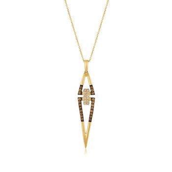 "14KY Chocolate & White Diamond Pendant w/ 0.42 ctw, 18"" Chain"