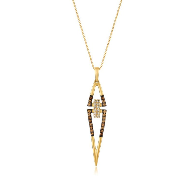 "Le Vian In Stock 14KY Chocolate & White Diamond Pendant w/ 0.42 ctw, 18"" Chain"