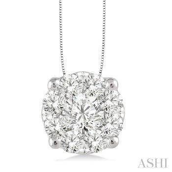 "14KW Diamond ""Lovebright"" Cluster Pendant w/ 1.0 ctw, 18"" Box Chain"