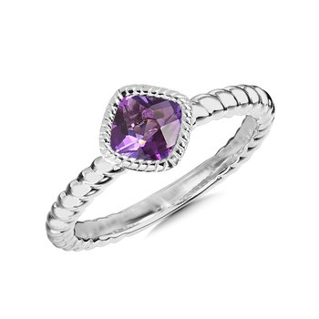 Sterling Silver Amethyst Ring, Size 7