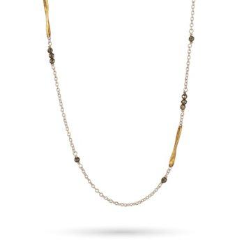 "Sterling Silver & Brass Lume 18"" Pyrite Chain"