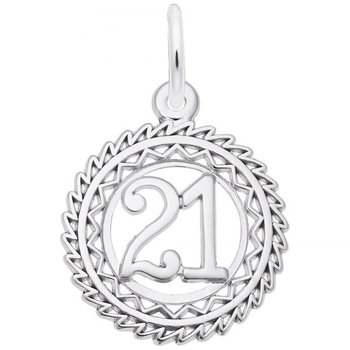 Sterling Silver Number 21 Charm