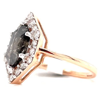 14KR Salt & Pepper Ring w/ 1.65 ctw Dia. & 1.17 ctw Natural MarQuise Center Diamond