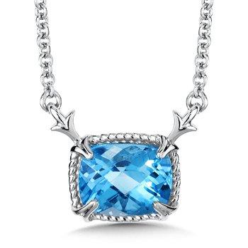 "Sterling Silver Blue Topaz Pendant w/ 9 x 7 mm Topaz, 18"" Rolo Chain"