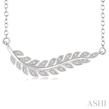 """Sterling Silver Diamond Leaf Necklace w/ 0.10 ctw 18"""" Chain"""
