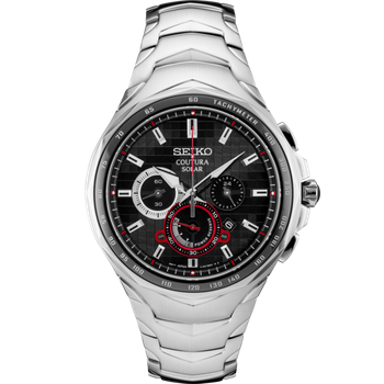 Stainless Steel Solar Chronograph Watch w/ Black Pixelated Face with Red Accents and Lumibright Hands and Markers Sapphire Crystal