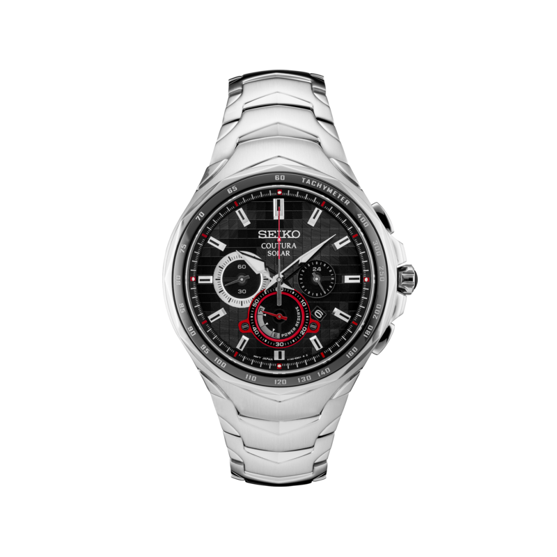 Seiko Watches In Stock Stainless Steel Solar Chronograph Watch w/ Black Pixelated Face with Red Accents and Lumibright Hands and Markers Sapphire Crystal
