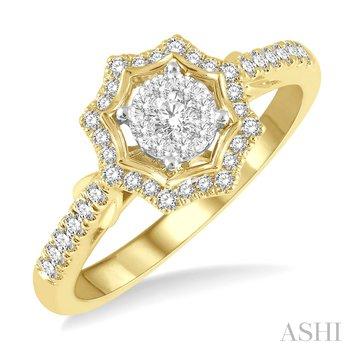 14KW Star Shape Lovebright Round Cut Diamond Ring w/ 0.35 ctw Size 6.50