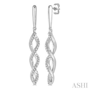 10KW Diamond Dangle Twisted Earrings w/ 0.20 ctw