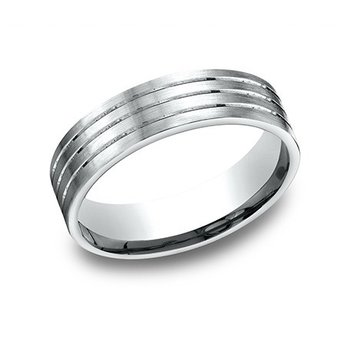 14KW Light Comfort Fit 6.5 mm Satin 3 Thin Cuts Band, Size 11