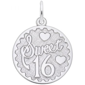 Sterling Silver Sweet 16 Disk Charm