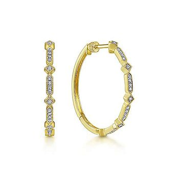 14KY Vintage Diamond Hoops