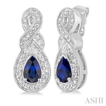Sterling Silver Sapphire/Diamond Dangle Earrings w/ 0.05 ctw Dia.