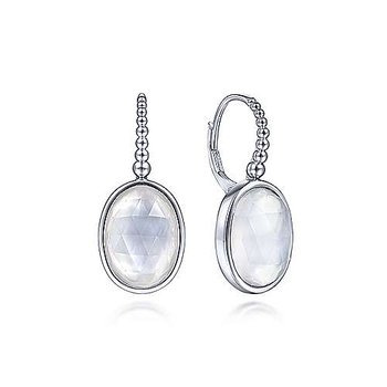 Sterling Silver Rock Crystal and White Mother of Pearl  Drop Earrings