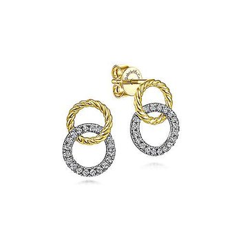 14K Two-Toned Open Circle Twisted Rope and Diamond Stud Earrings w/ 0.22 ctw