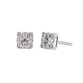 14KW Diamond Cluster Stud Earrings w/ 0.336 ctw