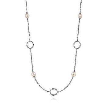 """Sterling Silver Pearl and Open Circle Station Necklace 28"""""""