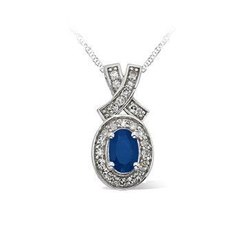 10KW Sapphire and Diamond Pendant w/ 0.21 ctw Dia.